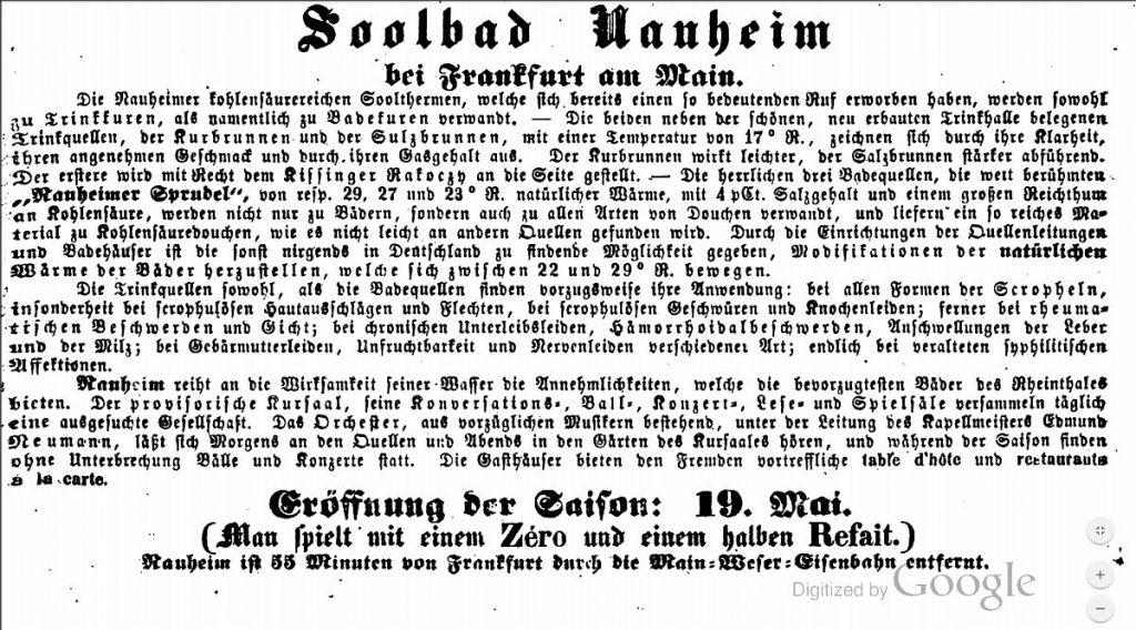 Werbung für Bad Nauheim und das Kurorchester 1858