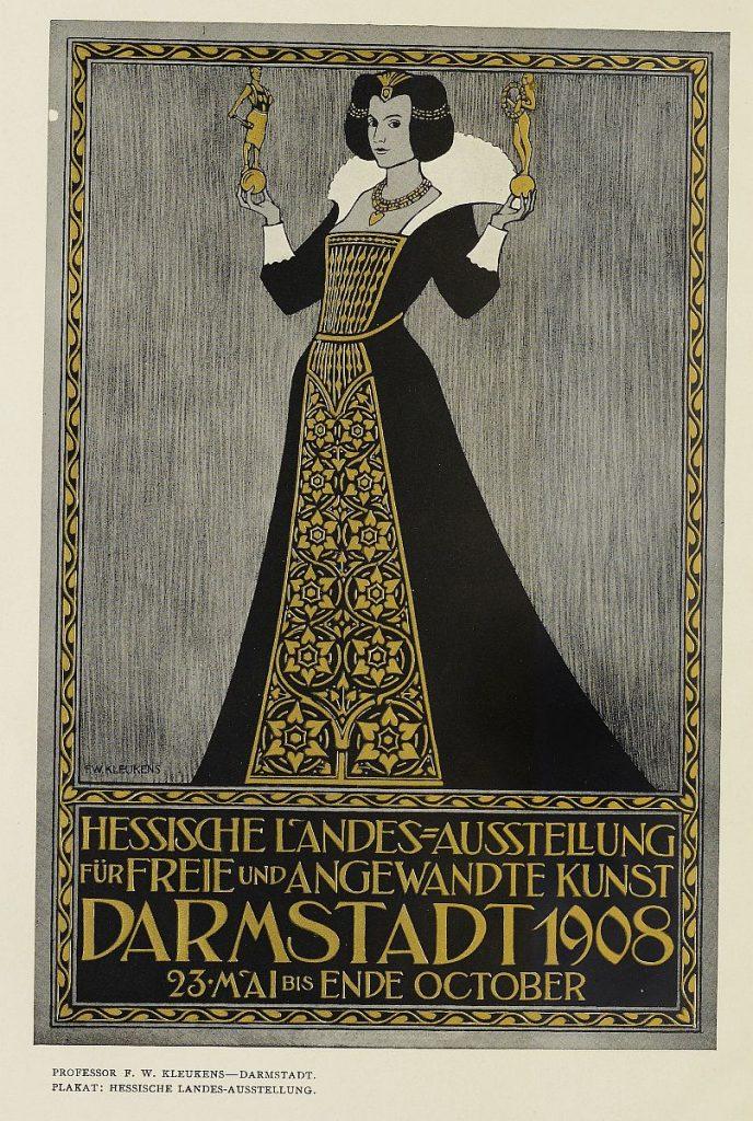 Plakat zur Hessischen Landesausstellung in Darmstadt 1908 -  aus: HESSISCHE LANDESAUSSTELLUNG DARMSTADT 1908 - A. KOCH 1909 - JOSEPH-MARIA OLBRICH, Digitalisat der UB Heidelberg -  CC-by SA 4.0